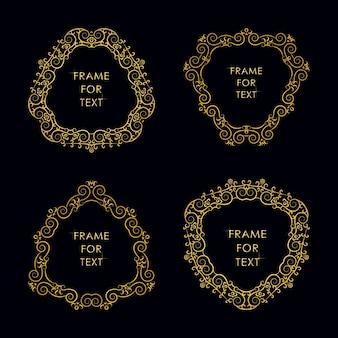 Set aus vier eleganten spiralrahmen im trendigen umrissstil
