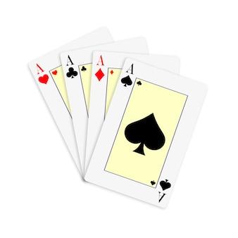 Set aus vier kartenstapeln mit assen zum spielen von poker und casino.