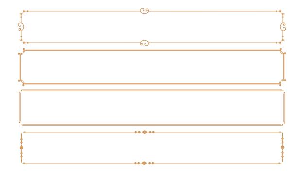 Set aus vier klassischen dekorativen rechteckigen rahmen