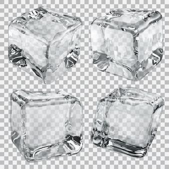 Set aus vier transparenten eiswürfeln in grauen farben