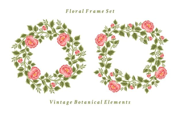 Set aus vintage-pfingstrosen-blumenrahmen und kranzarrangements