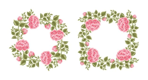 Set aus vintage-rosenblumenrahmen und kranzarrangements