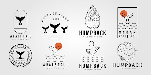 Set aus walschwanz und sammlung von buckelwalen auf ozeanlogo-vektor-illustrationsdesign