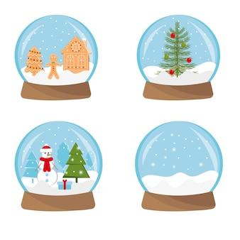Set aus weihnachtlichem magischem kristallschneeball