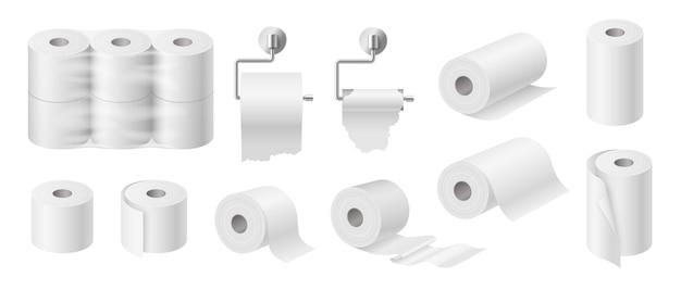 Set aus weißem toilettenpapier und küchentüchern rohrmodell isoliert auf weißem hintergrund. verpackungsdesign für papierservietten. 3d realistische vektorillustration