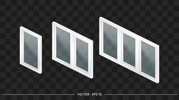 Set aus weißen metall-kunststoff-fenstern mit transparenten gläsern in 3d. modernes fenster im realistischen stil. isometrie, vektorillustration.