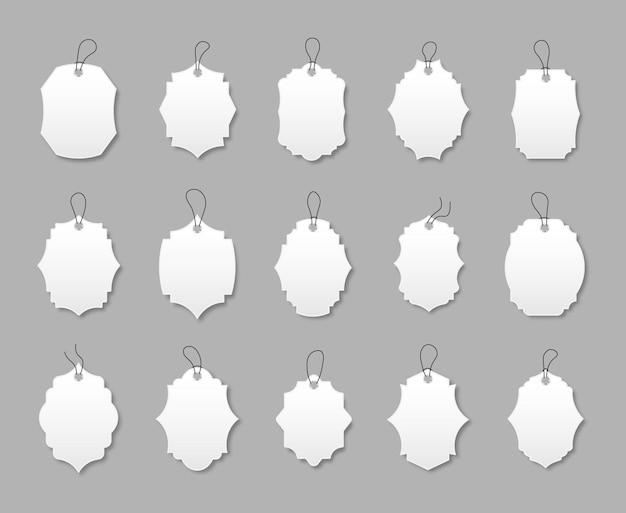 Set aus weißen rabattetiketten mit verschiedenen formen sonderangebot etiketten mit kordel
