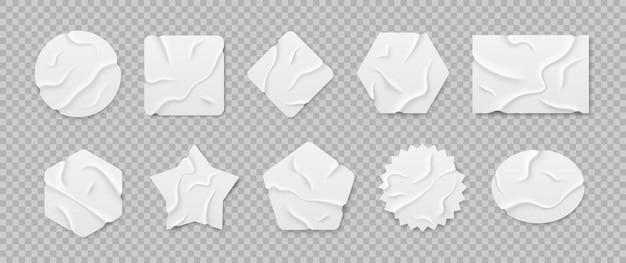 Set aus weißen selbstklebenden klebrigen aufklebern klebebandstücke isoliert auf transparentem hintergrund
