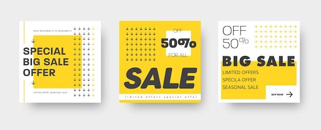 Set aus weißen und gelben webbannern für den großen und mega-verkauf mit quadratischen designelementen und schwarzen pfeilen. vorlagen für rabatte. illustration