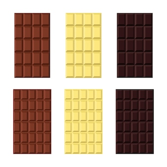 Set aus weißer, milchiger, schwarzer schokolade