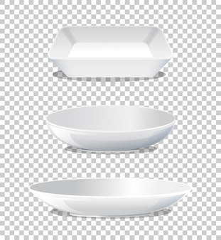 Set aus weißer platte seitenansicht