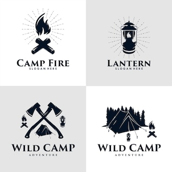 Set aus wildcamp-, feuercamp- und laternen-logo-design