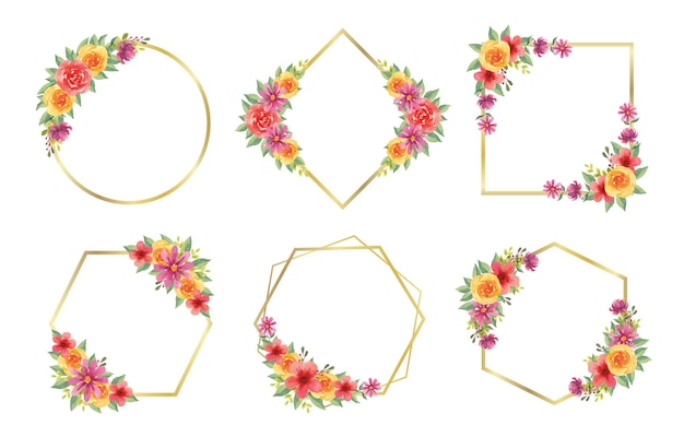 Set aus wunderschönen aquarellblumenrahmen für hochzeitsmonogramm-logo und branding-logo-design