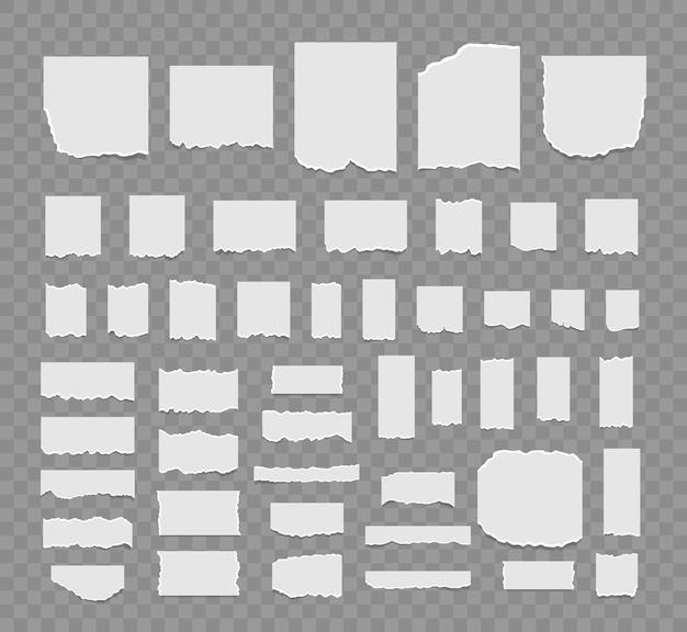 Set aus zerrissenen weißen blättern papier memo-blatt oder notizbuch-schredder haftnotizen