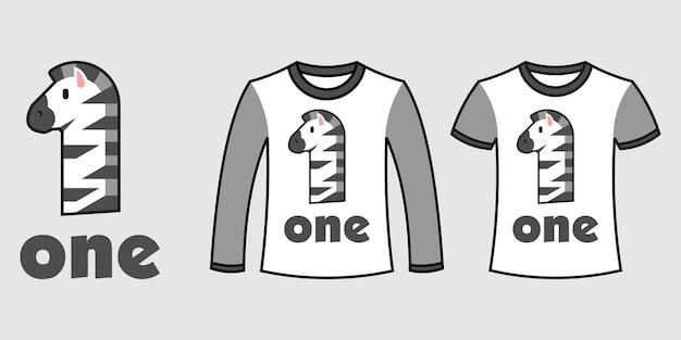 Set aus zwei arten von kleidung mit zebraform nummer eins auf t-shirts freier vektor