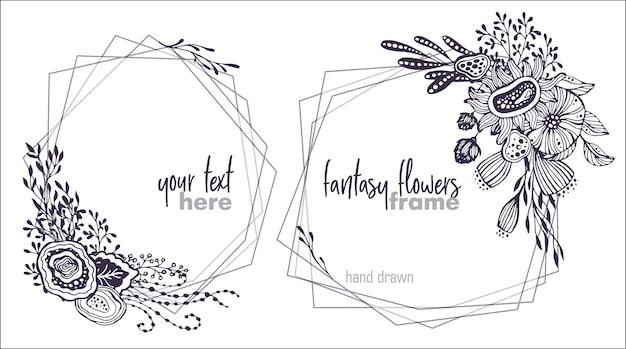 Set aus zwei schwarz-weißen vektorblumenrahmen mit sträußen aus handgezeichneten fantasieblumen, pflanzen und zweigen. schöne vorlage für einladungen, grußkarten.