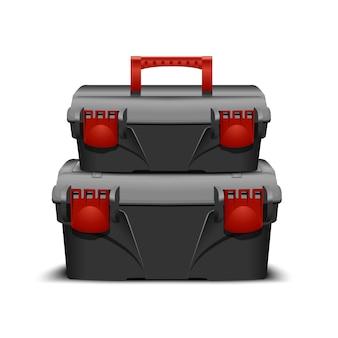 Set aus zwei schwarzen kunststoff-werkzeugkästen, grauer kappe und rotem schloss und griff. toolkit für bauunternehmer oder industriegeschäft. realistische box für werkzeuge