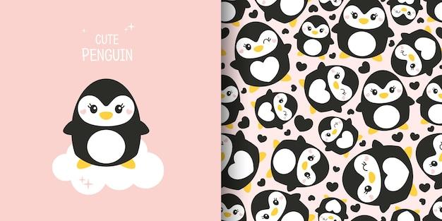 Set aus zwei süßen karten. nahtloses muster mit pinguinen. pinguine auf rosa hintergrund. postkarte, poster, kleidung, stoff, geschenkpapier, textilien.