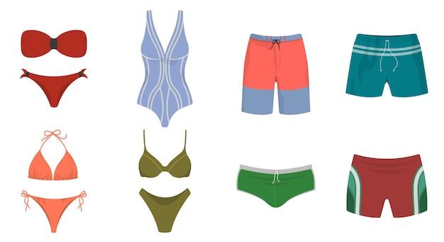 Set badebekleidung und badehose. männliche und weibliche sommerkleidung im karikaturstil.