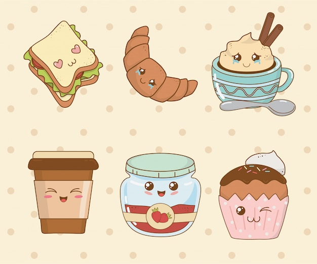 Set bäckerei essen kawaii zeichen