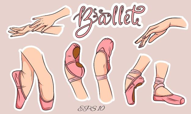 Set ballettschuhe und hände. damenbeine in ballettschuhen. ballettschuhe, spitzenschuhe.