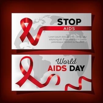 Set banner mit welt-aids-tag und band