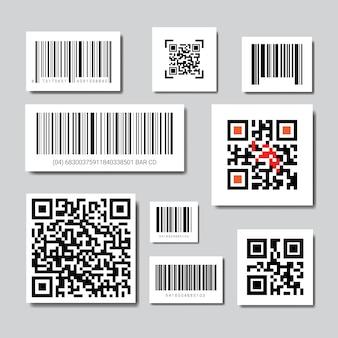 Set bar- und qr-codes für das scannen von icons