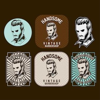 Set barbershop logo auf dunklem hintergrund