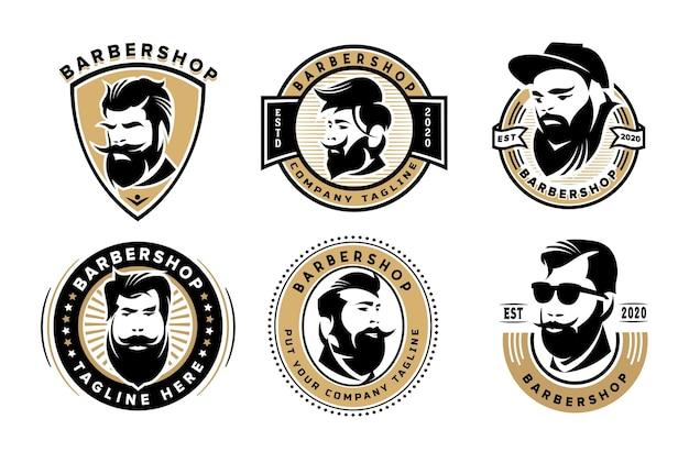 Set barbershop vintage logo vorlage für unternehmen Premium Vektoren