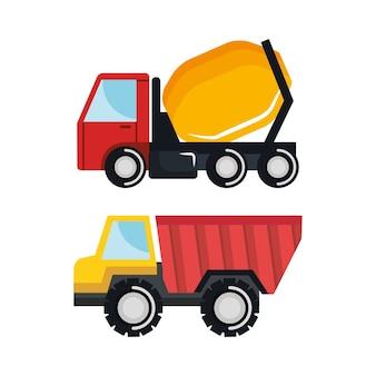 Set baufahrzeug transport arbeitsmaschine