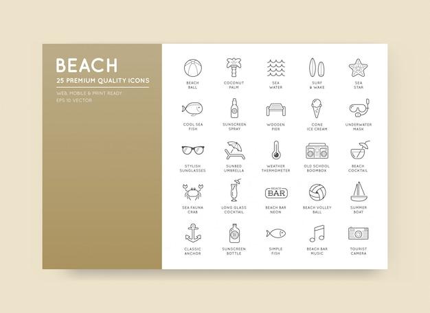Set beach sea bar elements und summer können als logo oder icon in premium-qualität verwendet werden