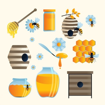 Set bienenillustrationen