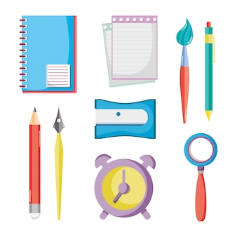 Set bildung schule utensilien symbole