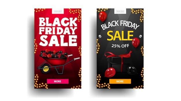 Set black friday rabatt vertikale banner mit schubkarre mit geschenken für black friday, luftballons, girlandenrahmen und knopf zum angebot. rote und schwarze rabattfahnen lokalisiert im weißen hintergrund