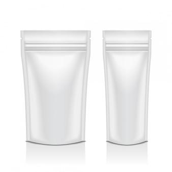 Set blank foil food oder cosmetic pack pouch sachet bag verpackung mit reißverschluss. vorlage