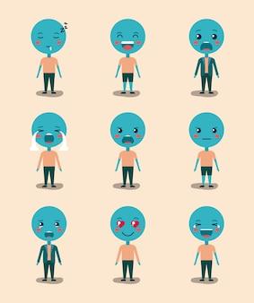 Set blaue emoticons kawaii zeichen
