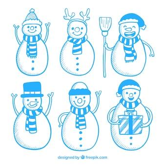 Set blaue schneemannzeichnungen