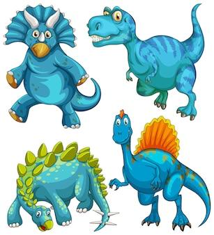 Set blauer dinosaurier-cartoon-figur