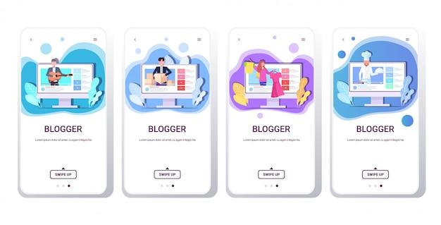 Set blogger, die online-video-mix-race-vlogger aufzeichnen, die live-streaming-übertragungen von social-media-netzwerken durchführen