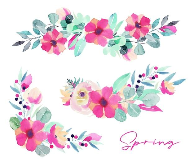 Set blumensträuße aus aquarellfrühling und kompositionen aus rosa blumen, wildblumen, grünen blättern, zweigen und eukalyptus