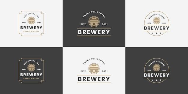 Set brauerei, fass-logo-design im vintage-stil