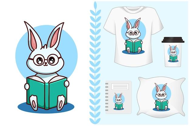 Set, brille kaninchen liest ein buch
