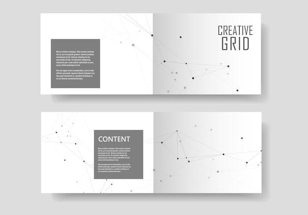 Set broschüren vorlage mit verbinden. abstrakte technologie.