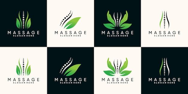 Set bündel des logodesigns der natürlichen massagetherapie mit handknochen und blatt premium-vektor