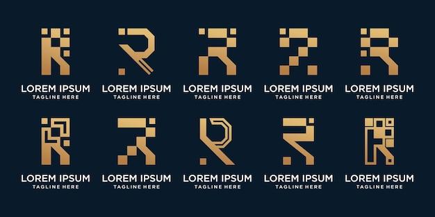 Set bündel monogramm logo design anfangsbuchstabe r mit kreativem konzept premium-vektor