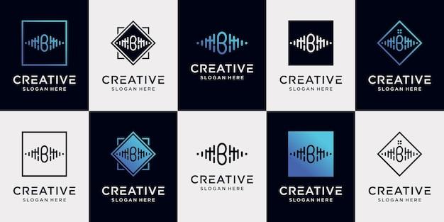 Set bündel musik logo design sammlung anfangsbuchstabe b mit einzigartigem konzept premium-vektor