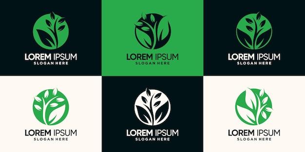 Set bündel natürliches und organisches logo mit negativem raumkreiskonzept premium-vektor