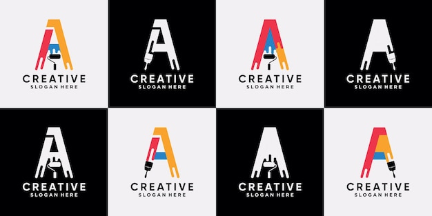 Set bündelfarbe logo design vorlage anfangsbuchstabe a mit kreativem modernem konzept premium-vektor