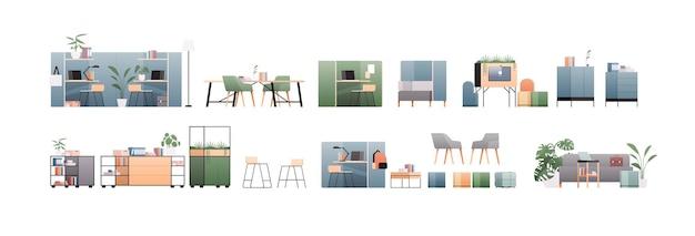 Set büro innenmöbel verschiedene schrankelemente sammlung horizontale flache illustration