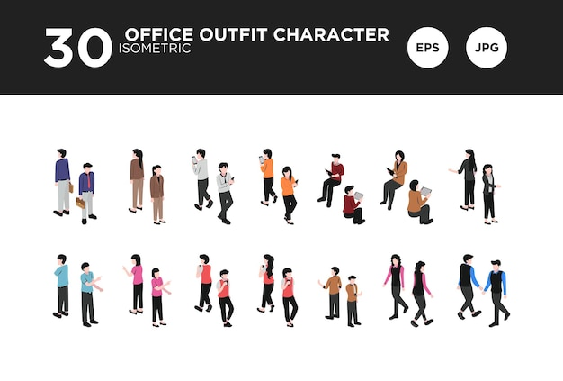 Set büro-outfit-charakter-design